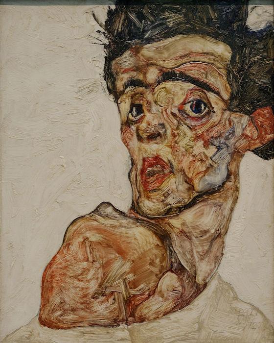 Autoportrait avec l'épaule nue soulevée 1912 Egon_Schiele_-_Selbstporträt_-_1906Egon_Schiele_-_Self-Portrait_with_Physalis_-_Google_Art_Project-Egon_Schiele-nu-feminin-les-hardis-3