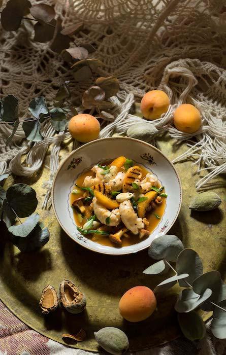 langoustines-abricots-girolles les hardis cuisine francaise