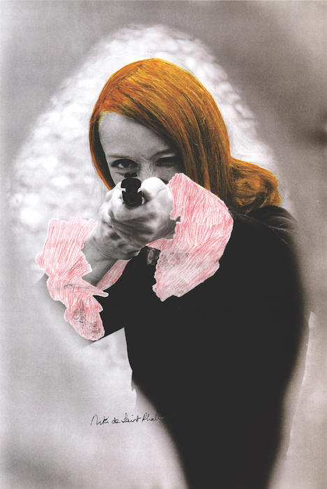 "Niki de Saint Phalle aiming; colored Film-Still of ""Daddy"", 1972"